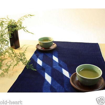 Placemat Table Mat Japanese Indigo Dyeing Aizome Oriental 13x21(34x54cm) Diamond