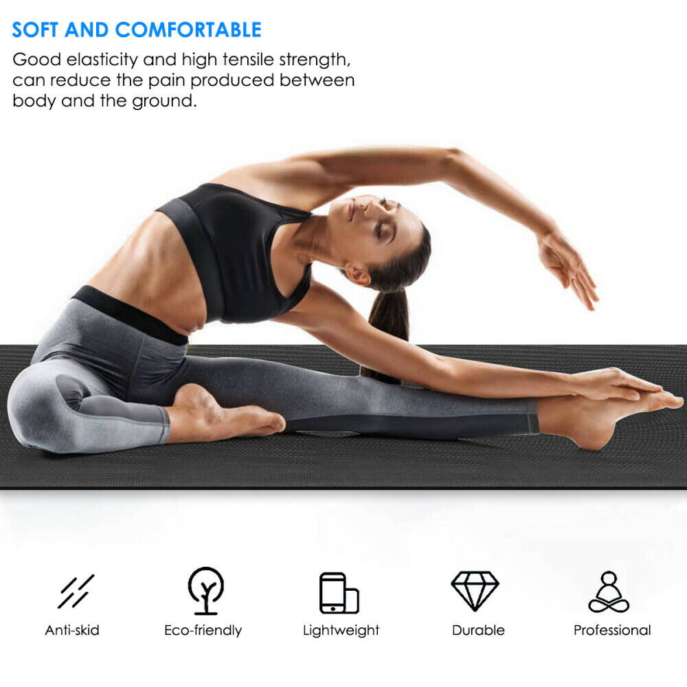 Non-Slip Yoga Mat Thick Large Foam Gym Exercise Fitness Pila