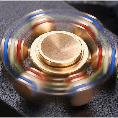 (Giant 6 Wheel Pure Copper Hand Finger Fidget Spinner Toy Detachable Legs)