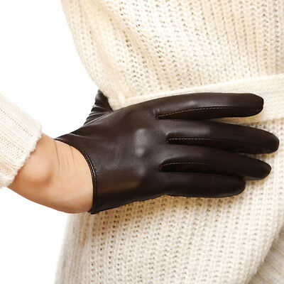 Ladies Leather Driving Gloves - Ladies Woman Genuine Nappa Leather Low Cut Driving 2 Color Gloves On Sale #L098N