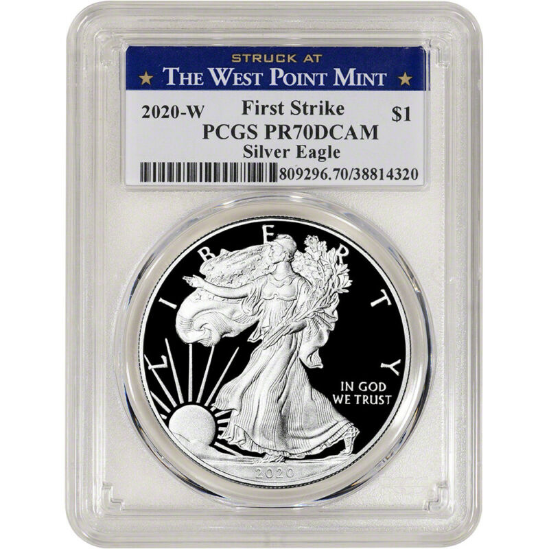 2020-W American Silver Eagle Proof PCGS PR70 DCAM First Strike West Point Label