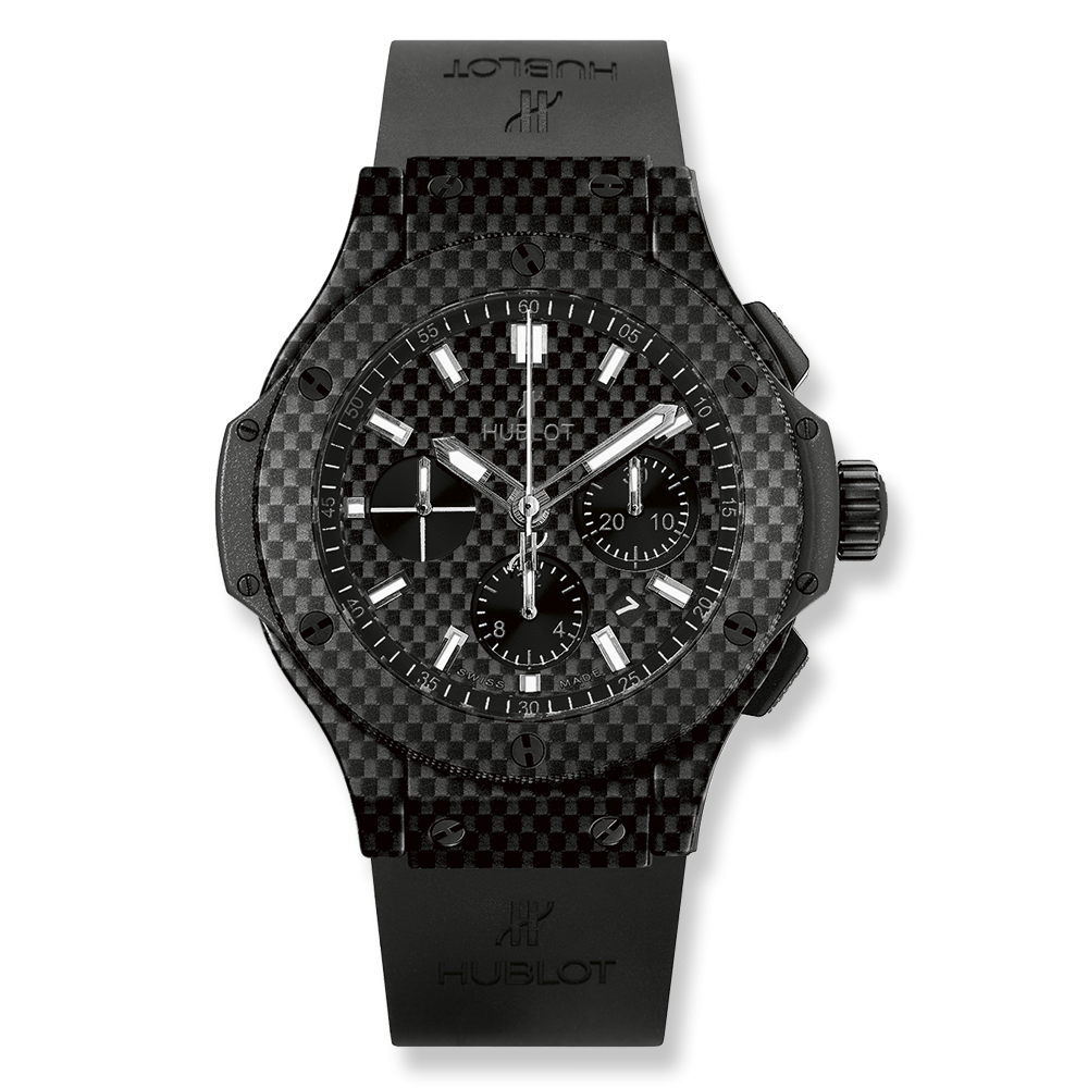 HUBLOT BIG BANG ALL CARBON CHRONO 44MM IN CARBON FIBER WITH RUBBER STRAP WATCH