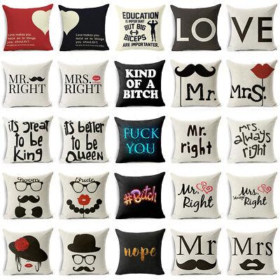 Mrs Pillowcase (Mr&Mrs Wedding Cotton linen pillow case throw sofa car cushion cover Home Decor )
