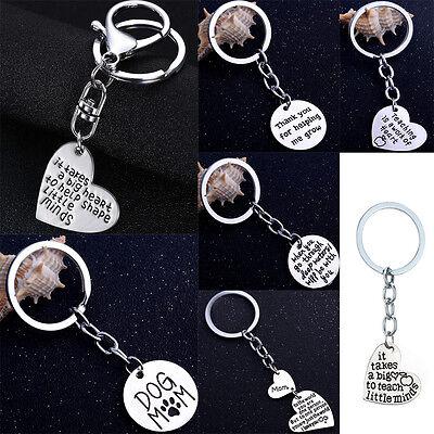 GIFT FOR TEACHER MOTHER Keyring Love Heart Pendants Charms Keychain Best
