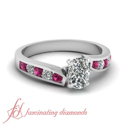 Round Pink Sapphire Engagement Channel Ring 0.80 Ct Cushion Cut Diamond VVS2 GIA