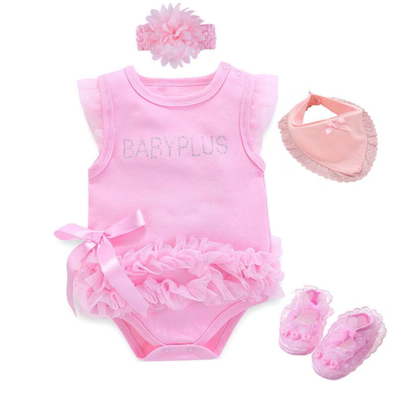 Newborn baby girls summer bodysuit+headband+shoes+ bib baby shower gift