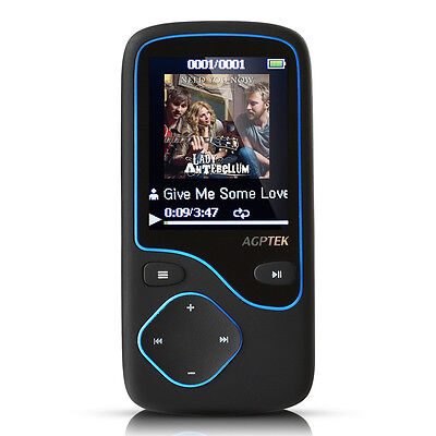 Agptek 8GB Portable Bluetooth MP3 Player with FM Radio 12 Hours Lossless Playing
