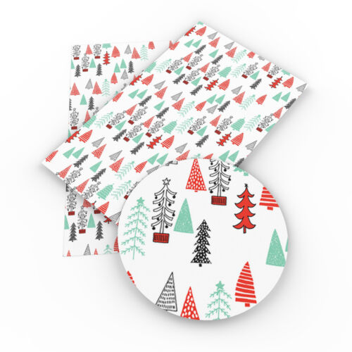 A4 Christmas Theme Faux Leather Fabric Sheet Synthetic PVC S