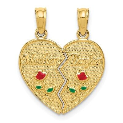 14k Yellow Gold Childrens Enameled Mother Daughter Pendant Kid Charm 20mm x (Gold Mother Child Jewelry)