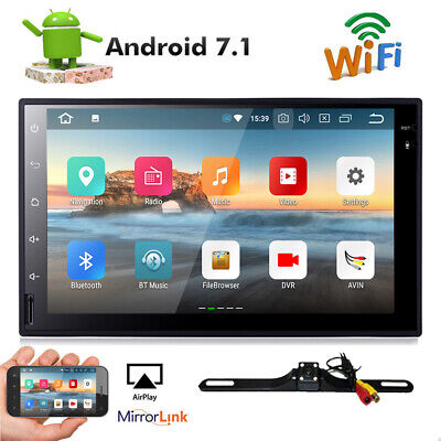 "Camera+Android 7.1 Car stereo GPS No DVD player 7"" Tablet Double 2DIN Radio WiFi"