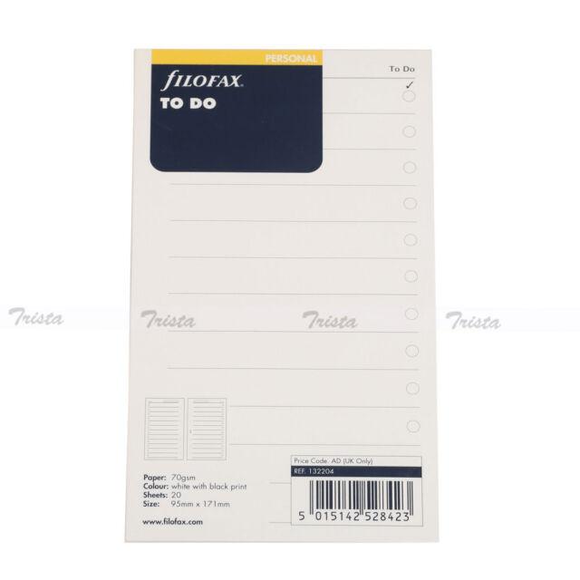 Filofax Personal Size Organiser To Do NotePaper Refill Insert - 132204