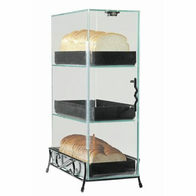 Cal-mil Bread Case 3-tier Black Metal Stand And Plastic - 7l X 13w X 20h