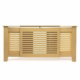 Unpainted MDF Radiator Cover, Horizontal Lines Grill, Adjustable Size 140cm - 200cm