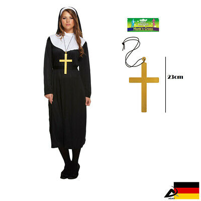 Nonne Kostüm Geistliche Nonnegewand Nonnekostüm Fasching Karneval Kreuz -