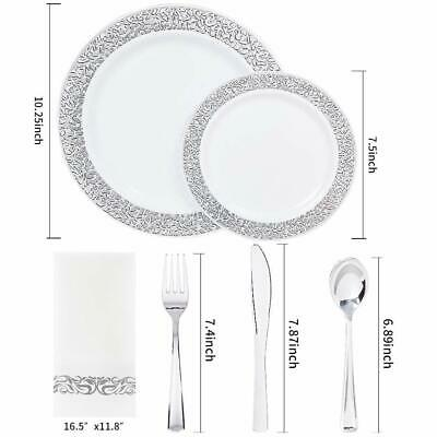 150PCS Silver Plastic Plates with Disposable Plastic Silverware&Hand Napkins, La](Silverware Plastic)