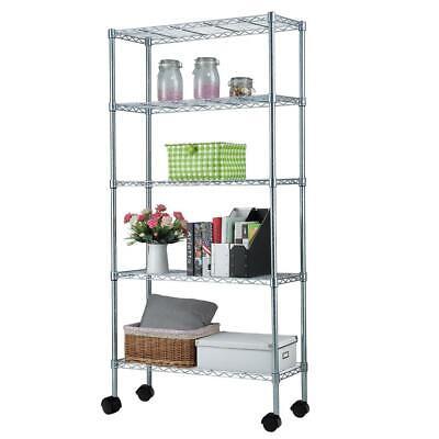 65x36x14 Adjustable 5-shelf Shelving Wire Unit Storage Rack With Wheels Black