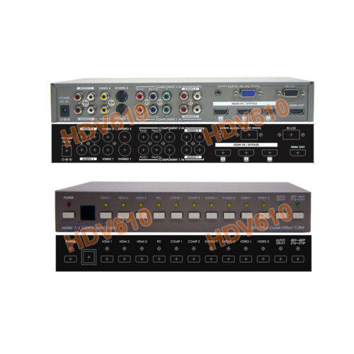10 In 1 Out Analog/Digital Video To HDMI Converter Switcher With IR Remote RS232