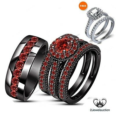 Red Garnet Trio Wedding Engagement Ring His and Hers Bands Set 10K Black Gold