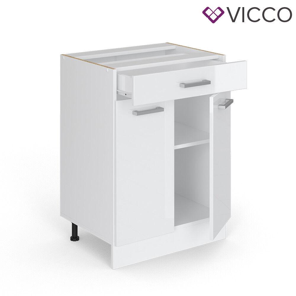 VICCO Küchenschrank Hängeschrank Unterschrank Küchenzeile R-Line Schubunterschrank 60 cm weiß