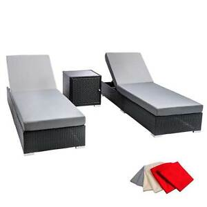 3 pcs Black Wicker Rattan 2 Seater Outdoor Lounge Set Grey Melbourne CBD Melbourne City Preview