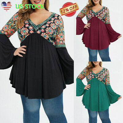 Women Long Bell Sleeve Tops Casual Ruffle V Neck Tunic Floral Print Shirt Blouse Ruffle Print Tee