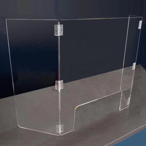 Sneeze Guard -Acrylic Fold 3 sided for Desktop Counter for Retail School Library