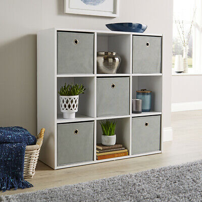 Storage Cube 9 Shelf Bookcase Wooden Display Unit Organiser White Furniture
