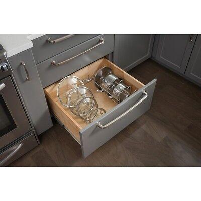 Polished Chrome Kitchen Cabinet Drawer Pots & Pans Organizer - Holds Up to 5 Peg Drawer Organizer