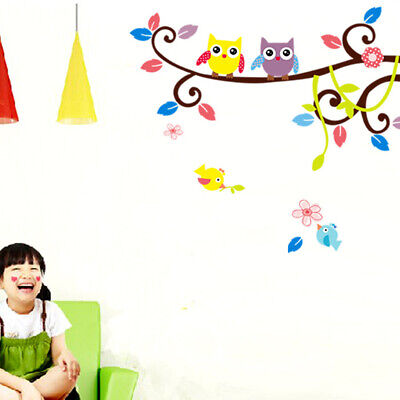 Home Decor Ladder  DIY Cartoon Nursery Tree Leaf Owl Wall Stickers Home Decoration Art Wall Paper