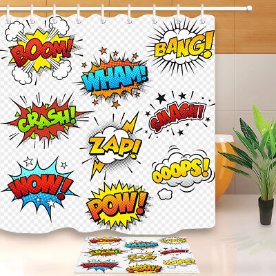 Cartoon Superhero Graffiti Shower Curtain Waterproof Fabric Bathroom Hooks - Superhero Shower Curtain