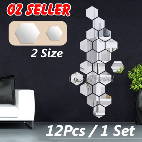 Home Decoration - Upto 24x Mirror Hexagon Removable Acrylic Wall Stickers Art DIY Home Decor Sple