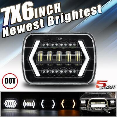 """DOT 7x6"""" 5x7"""" LED Headlight Halo Hi-Lo Black Projector For Dodge Charger Ram 50"""