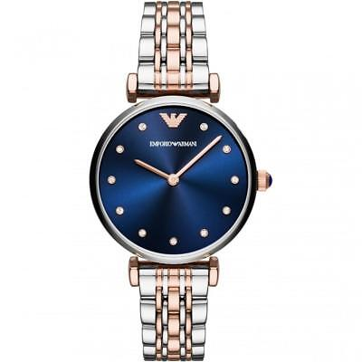 Emporio Armani AR11092 Women's Watch Two Tone Silver/Rose Gold Navy Blue Dial