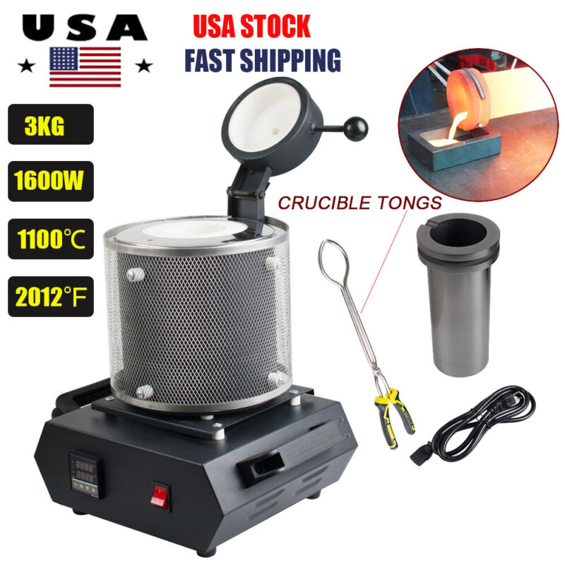 3KG Automatic Electric Metal Melting Furnace Gold Silver Smelter Machine 1600W