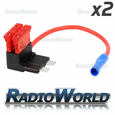 2x Inline 10A Blade Fuse Tap Car Audio Quick Ingition Live Splice Add Circuit
