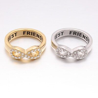 Crystals Best Friends Engraved Friendship Infinity Forever Love Band (Infinity Ring Engraved Best Friends)
