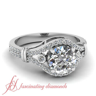 3/4 Carat Round Natural Diamond Engagement Ring Pave And Bezel Set GIA Certified