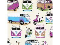 3 Rolls - VW Camper Vans/Scooters Multi Wallpaper for sale  West Yorkshire