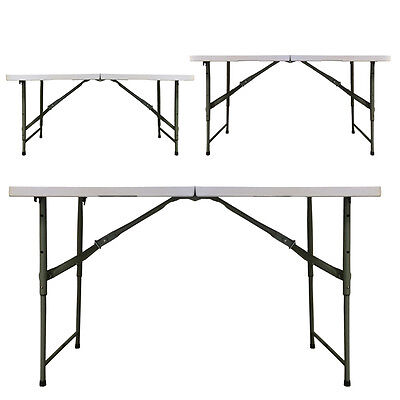 Folding Table 4ft with THREE Adjustable Heights + Metal Securing Bolts Redstone