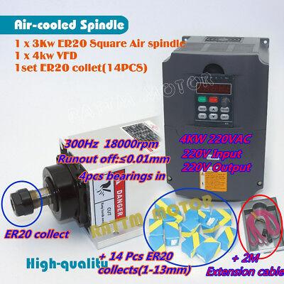 Cnc 3kw Air Cooling Spindle Motor Er20 4kw Hy Vfd Inverter 220v14p Er20 Collet