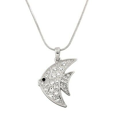 Angel Fish Charm Pendant Necklace - Sparkling Crystal - 17