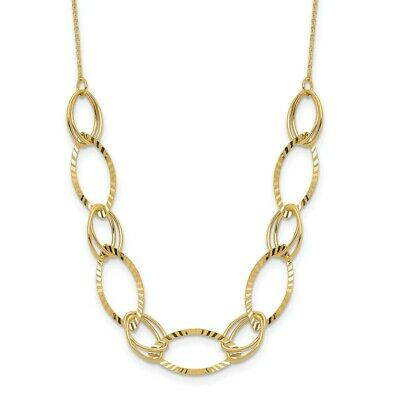 Real 14kt Yellow Gold Polished Diamond Cut Oval Link Necklace