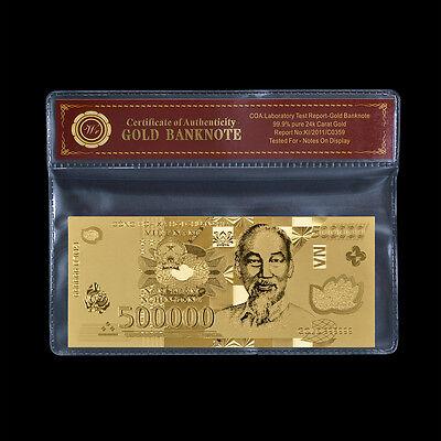 WR Vietnam 500,000 Dong Uncirculated Banknote Gold New 500000 Vietnamese /w COA