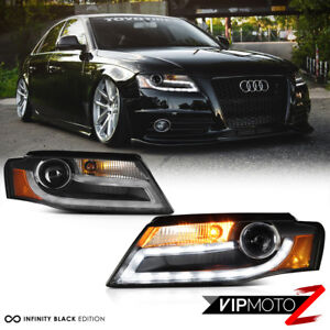 2009-2012 Audi A4 B8 [Infinity Black] Projector Headlight DRL LED Light Bar Euro
