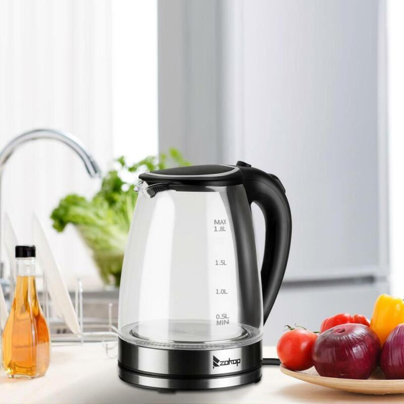 1.8L Electric Glass Kettle 1500W Fast Boiling Stainless Steel Hot Water Heater