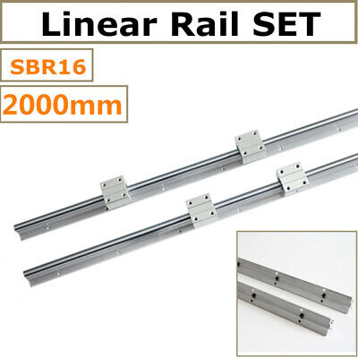 Sbr16 2000mm Linear Slide Rail Set Shaft Rod 4pc Sbr16uu Bearing Blocks Cnc