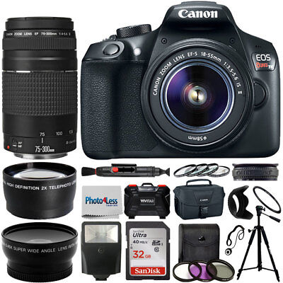 Used, Canon EOS 1300D / Rebel T6 Camera + 18-55mm + 75-300mm + Value Accessory Bundle for sale  Shipping to India