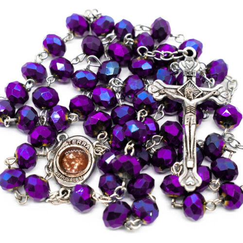Deep Purple Crystal Beads Rosary Necklace Catholic Holy Soil And Cross Crucifix