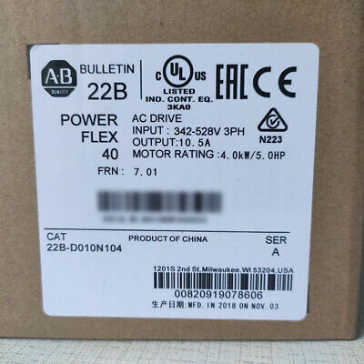 Allen Bradley 22b-d010n104 Powerflex 40 Ac Drive 5hp 4.0kw Led Digital Keypad Ab