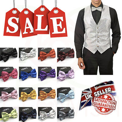 Glowish Men Glitter Bow Tie Crystal Glitter SPARKLY SEQUIN Dickie Dicky Party Party Bow Tie